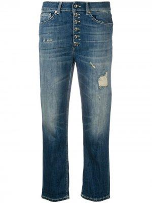 Укороченные джинсы Koons с эффектом потертости Dondup. Цвет: синий