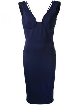 Платье-бюстье с приспущенными лямками Victoria Beckham. Цвет: синий