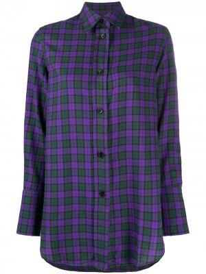 Клетчатая рубашка с длинными рукавами Aspesi. Цвет: фиолетовый
