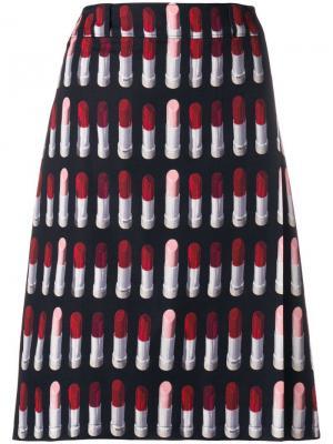 А-образная юбка с принтом губной помады Prada. Цвет: черный