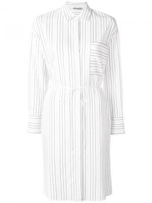 Платье-рубашка длины миди Vince. Цвет: белый