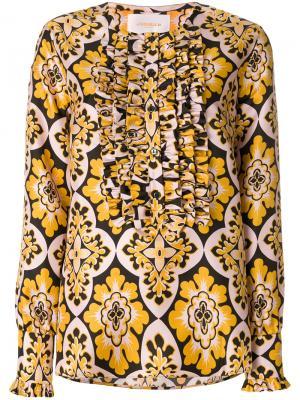 Рубашка Palazzo с плиссированным нагрудником La Doublej. Цвет: желтый