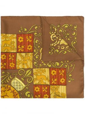 Шарф с принтом Dies et Hore Hermès Vintage. Цвет: коричневый