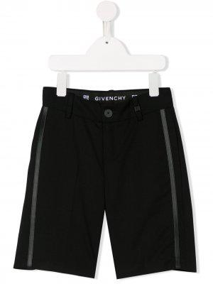 Шорты с лампасами Givenchy Kids. Цвет: черный