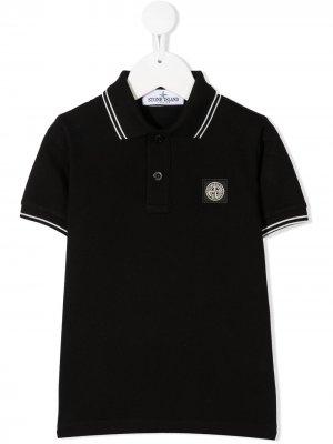 Рубашка поло с логотипом Stone Island Junior. Цвет: черный