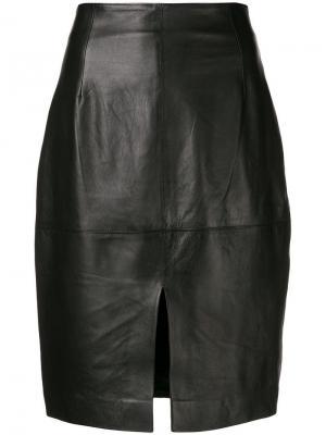 Кожаная юбка с завышенной талией Twin-Set. Цвет: черный