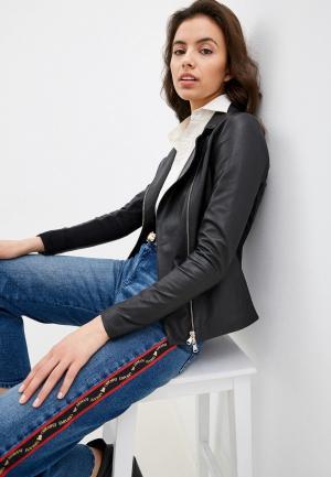 Куртка кожаная Emporio Armani. Цвет: черный