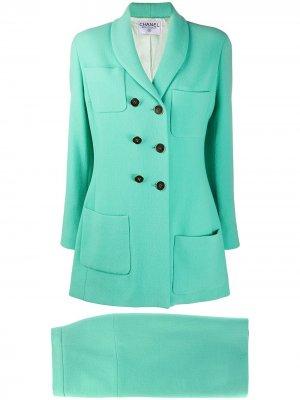 Костюм 1990-х годов с юбкой Chanel Pre-Owned. Цвет: зеленый