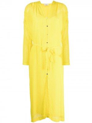 Жаккардовое платье с завязками Roseanna. Цвет: желтый
