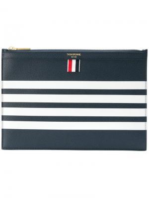Кожаный чехол для планшета с 4 полосками Thom Browne. Цвет: синий