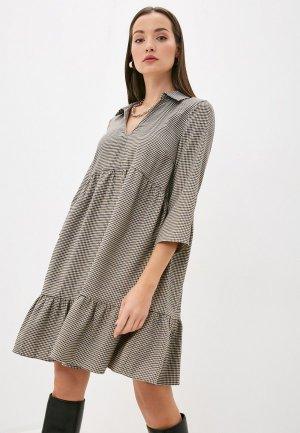 Платье Ichi. Цвет: коричневый