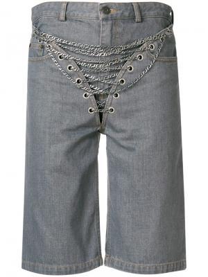 Джинсовые шорты с декором из цепочек Y / Project. Цвет: серый