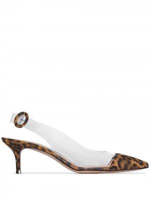 Туфли Alice 55 с заостренным носком и ремешком на пятке Gianvito Rossi. Цвет: коричневый