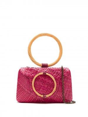 Соломенный клатч SERPUI. Цвет: розовый