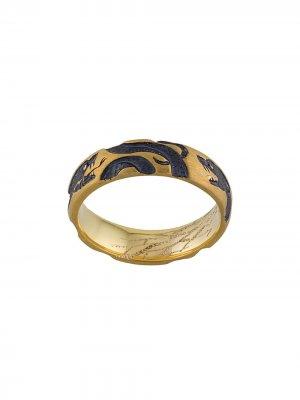 Золотое кольцо Serpents с гравировкой Castro Smith. Цвет: золотистый