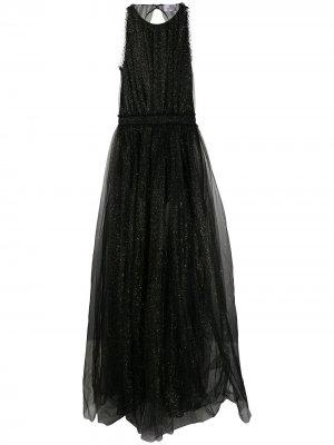 Полупрозрачное вечернее платье Elisabetta Franchi. Цвет: черный