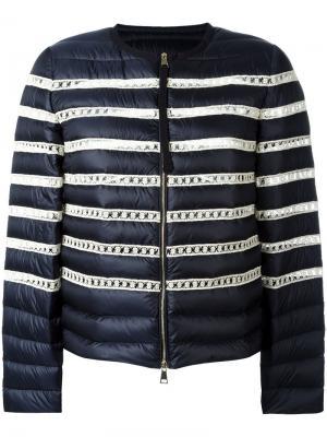 Куртка-пуховик в полоску Moncler. Цвет: синий
