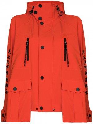 Ветровка с капюшоном и вышивкой Angel Chen. Цвет: оранжевый