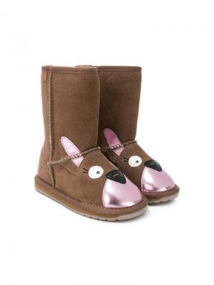 Animal face boots Emu Kids. Цвет: коричневый