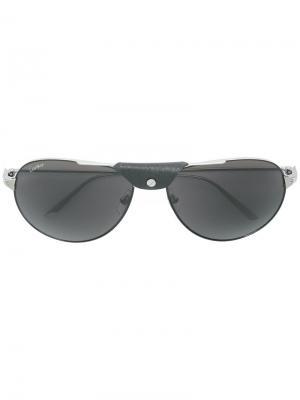 Солнцезащитные очки Santos Cartier. Цвет: металлик