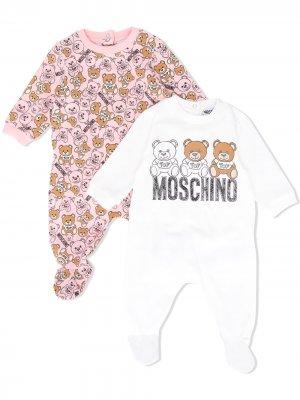 Комплект из двух боди с принтом Moschino Kids. Цвет: белый