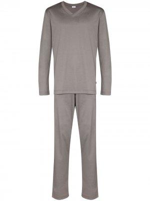 Пижама с V-образным вырезом Zimmerli. Цвет: серый