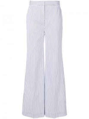 Расклешенные брюки в полоску Victoria Beckham. Цвет: белый