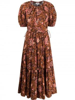 Платье миди с цветочным принтом A.L.C.. Цвет: коричневый