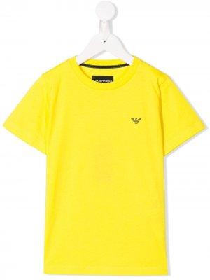 Футболка с короткими рукавами и логотипом Emporio Armani Kids. Цвет: желтый