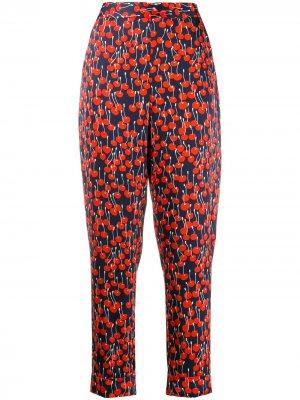 Зауженные брюки с принтом Victoria Beckham. Цвет: синий