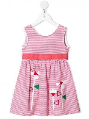 Платье миди в полоску с вышивкой Familiar. Цвет: rd