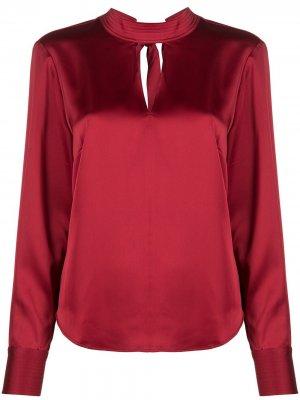 Блузка с высоким воротником и длинными рукавами DKNY. Цвет: красный