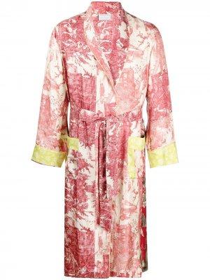Халат с цветочным принтом Pierre-Louis Mascia. Цвет: красный