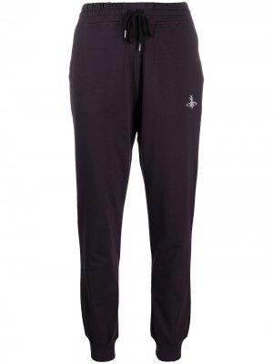 Спортивные брюки из органического хлопка с вышитым логотипом Vivienne Westwood Anglomania. Цвет: коричневый
