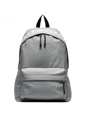 Рюкзак Wheel с вышитым логотипом Balenciaga. Цвет: серый