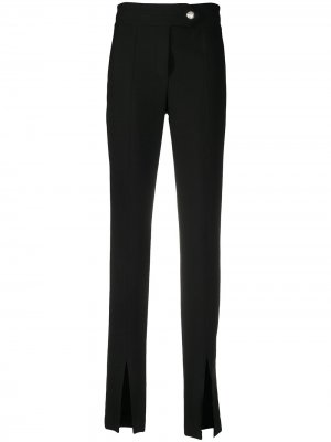 Строгие брюки с разрезами на манжетах Veronica Beard. Цвет: черный