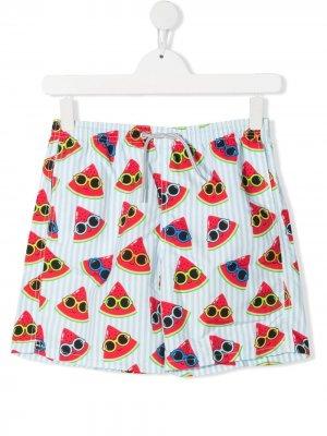 Плавки-шорты с принтом Mc2 Saint Barth Kids. Цвет: белый