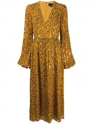Расклешенное платье с леопардовым принтом Saloni. Цвет: желтый