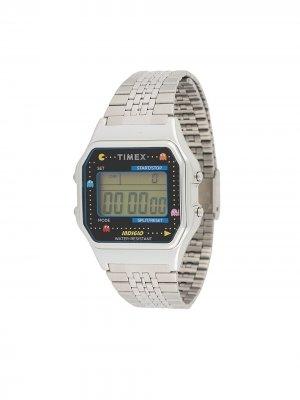 Наручные часы T80 Pac-Man 34 мм TIMEX. Цвет: серебристый
