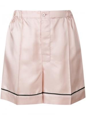 Атласные пижамные шорты Prada. Цвет: розовый и фиолетовый