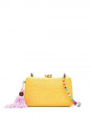 Соломенный клатч SERPUI. Цвет: желтый