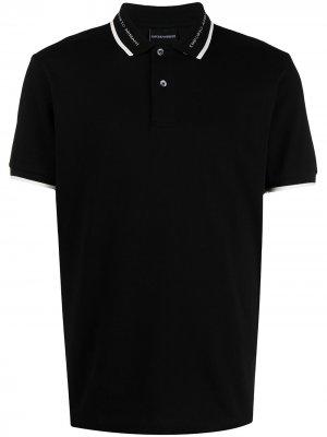 Рубашка поло с контрастной отделкой Emporio Armani. Цвет: черный