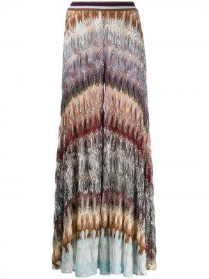 Брюки широкого кроя с вышивкой Missoni. Цвет: фиолетовый