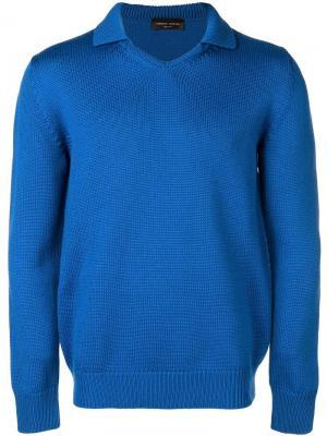 Knitted polo shirt Roberto Collina. Цвет: синий