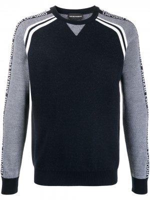 Пуловер с круглым вырезом и узором Emporio Armani. Цвет: синий