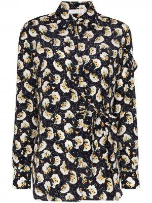 Блузка с цветочным принтом и завязками Chloé. Цвет: синий