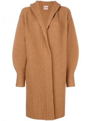 Midi cardi-coat Nude. Цвет: коричневый