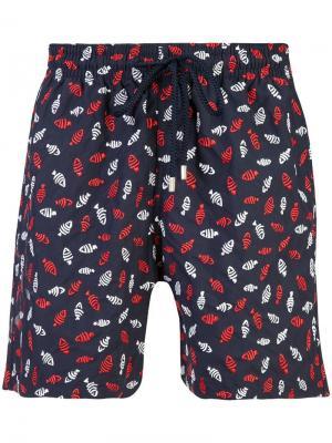 Пляжные шорты с принтом рыб Vilebrequin. Цвет: синий