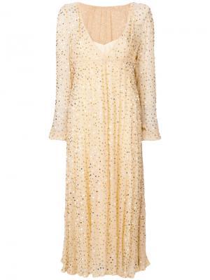 Длинное платье с глубоким вырезом Aniye By. Цвет: телесный