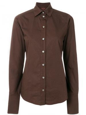 Классическая облегающая рубашка Romeo Gigli Vintage. Цвет: коричневый
